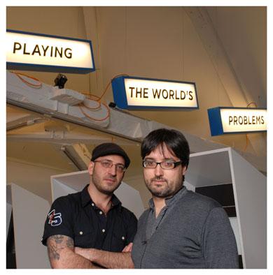 Marc Atallah et José Luis de Vicente. Le directeur de la Maison d'Ailleurs en compagnie du curateur de l'exposition. © Nicole Chuard