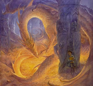 Smaug. Cet immense dragon va se fâcher: Bilbo lui a volé une coupe en or. Une scène peinte par l'illustrateur John Howe, tirée de l'Official Tolkien Calendar 2013, publié par HarperCollins.