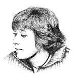 Marie-Hélène Gauthier. Philosophe, maître de conférences HDR à l'Académie d'Amiens. Dessin Eric Pitteloud