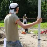 Mandeure (F). Mesures prises lors des fouilles archéologiques. Photo Alban Kakulya