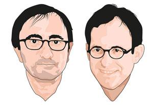 Gianni Haver et Antoine Chollet. Enseignants-chercheurs à la Faculté des sciences sociales et politiques. Dessin Eric Pitteloud