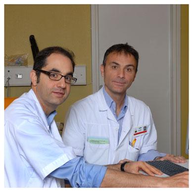 Andrea Rossetti et Mauro Oddo. Responsable de l'Unité d'épileptologie/EEG du CHUV. Responsable de la filière neuro-réanimation au Service de médecine intensive adulte du CHUV. Nicole Chuard © UNIL
