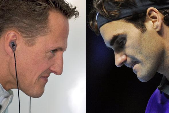 Michael Schumacher et Roger Federer. L'ex-champion de Formule 1 allemand peut bénéficier du forfait fiscal vaudois. Par contre, le Bâlois n'y a pas droit. Pourtant, les deux sportifs réalisent l'essentiel de leurs gains à l'étranger. © David Ebener / DPA / Keystone © Andy Rain / EPA / Keystone