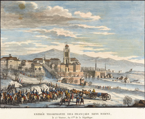 5 mars 1798. Entrée triomphante des Français dans Berne. © Schweizerische Nationalbibliothek, Graphische Sammlung : Grafiken PP, Geschichte