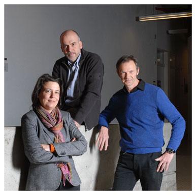 Danielle Bütschi Häberlin, Alain Kaufmann et Marc Audétat. Membres du comité de pilotage d'Internorm. Nicole Chuard © UNIL