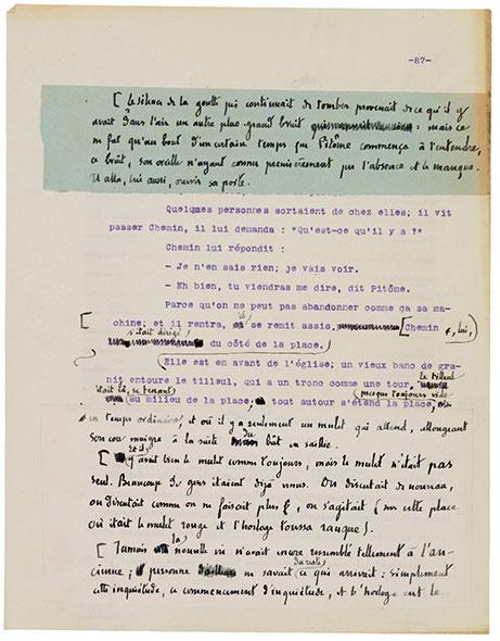 «Terre du ciel». Un extrait du dactylogramme corrigé, qui permet de voir le travail de l'auteur (1921). Le manuscrit de ce texte a longtemps manqué à l'appel. © Image tirée de «Vies de C. F. Ramuz», publié chez Slatkine