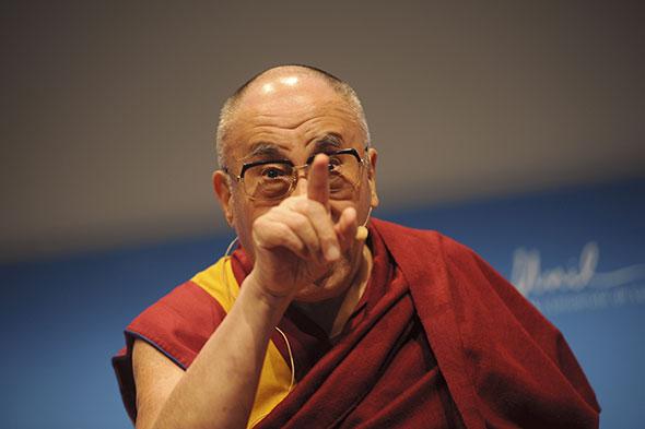 Dalaï-Lama. Le chef spirituel des Tibétains a parlé du vieillissement et de la mort à l'UNIL, le 15 avril 2013. © David Prêtre / Strates