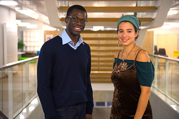 Réginald Destinobles et Emilie Crittin, lauréats des Prix Durabilis UNIL-EPFL. Félix Imhof © UNIL