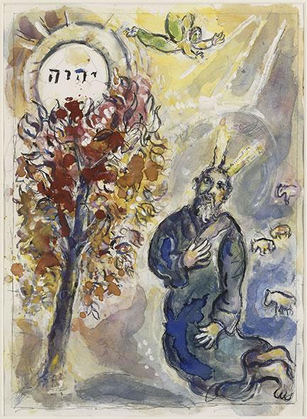 Moïse. Un messager apparaît dans une flamme au milieu d'un buisson et s'adresse au prophète (Exode, 3). Œuvre de Marc Chagall, 1965-66. © RMN – Grand Palais (musée Marc Chagall)/Gérard Blot. Chagall ®/© 2014, ProLitteris, Zurich