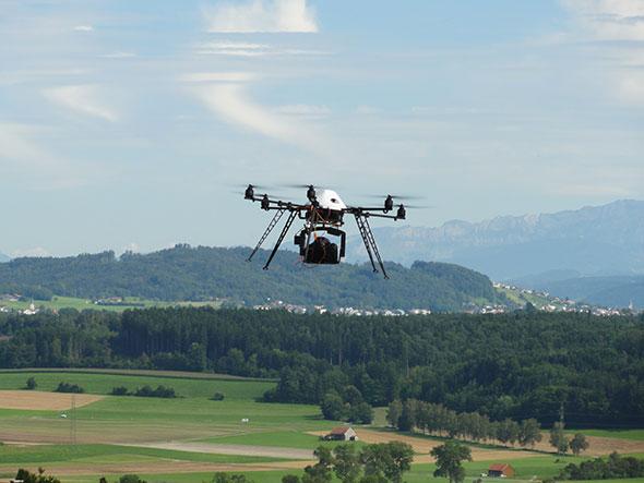 Le drone utilisé par les chercheurs de l'Institut des sciences de la Terre de l'UNIL. © DR