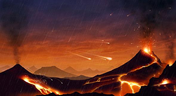 Hadéen. Vue d'artiste de la Terre dans ses premiers millions d'années d'existence. Recouverte d'un océan de magma, elle était bombardée de météorites. © Keystone/Science Photo Library Mark Garlick