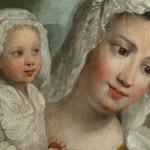 « La fille Jayet et son enfant ». Dalberg (attribution), vers 1760, huile sur bois. © Collection privée. Photo Musée historique de Lausanne / Arnaud Conne