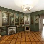 Vue d'ensemble du salon peint de Mézery. Dalberg (attribution), vers 1760, huile sur bois. © Collection privée. Photo Musée historique de Lausanne / Arnaud Conne