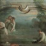 Scène de baignade. Dalberg (attribution), vers 1760, huile sur bois. © Collection privée. Photo Musée historique de Lausanne / Arnaud Conne