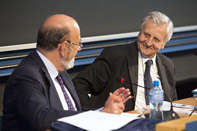José Maria Gil-Robles, président de la Fondation Jean Monnet, et Jean-Claude Trichet, Président du Groupe des Trente, ancien président de la Banque centrale européenne et gouverneur honoraire de la Banque de France. © Laurent de Senarclens – FJME