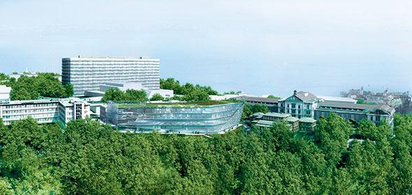 Agora. Installé près du CHUV, ce nouveau bâtiment abritera le Centre suisse du cancer – Lausanne. © Incito