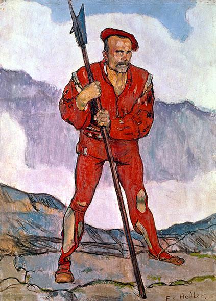 Lansquenet en rouge. Tableau de Fernand Hodler (1895). Winterthur, Stiftung Oskar Reinhart. Le peintre a consacré différents tableaux à Marignan. Ils ont fait scandale en 1897: l'ensemble avait été jugé «trop brutal» (lire Allez savoir ! No 39, septembre 2007). © akg-images / André Held