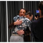 Yves Jenny (Michael) et François Florey (Ferdinand Vanek), filmés par la RTS. Théâtre La Grange de Dorigny, le 20 février 2015. Répétition de Vernissage de Vaclav Havel. Photo Nicole Chuard © UNIL