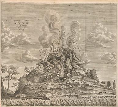 © Une éruption de l'Etna. Athanasius Kircher, Mundus subterraneus, Amsterdam, 1678. Bibliothèque Cantonale et Universitaire – Lausanne