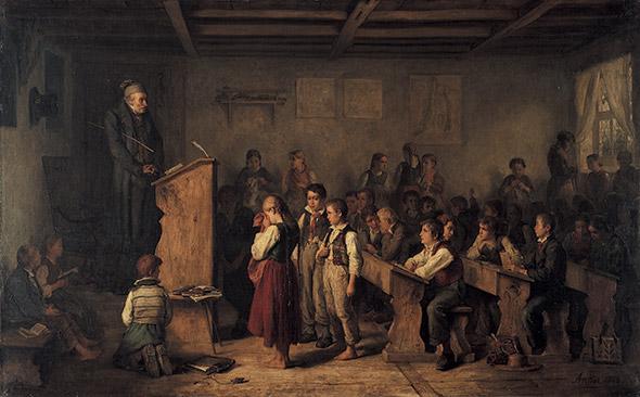 «UNE ÉCOLE DE VILLAGE DANS LA FORÊT-NOIRE» Huile sur toile d'Albert Anker, 1858. © Gottfried Keller-Stiftung, Bundesamt für Kultur, Bern, Depositum im Kunstmuseum Bern