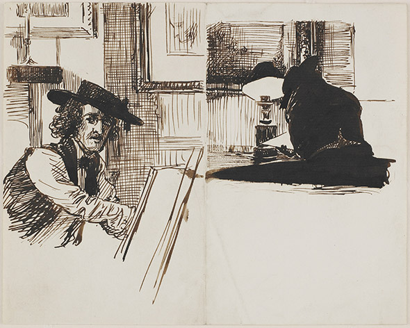 «WHISTLER DRAWING POYNTER» Dessin à l'encre de Sir Edward John Poynter, 1860. © Freer Sackler - Smithsonian Institution (Washington)