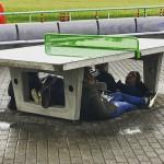 Au sec sous la table de ping-pong. Par @adrien_vncrt.