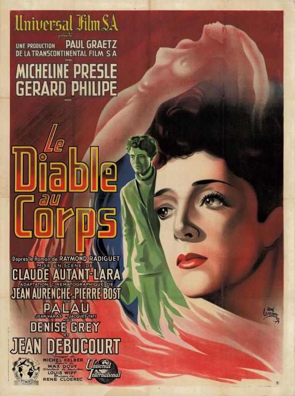 Affiche du <i>Diable au corps</i>, René Lefebvre, 1947. © Tous droits réservés/collection Cinémathèque suisse.