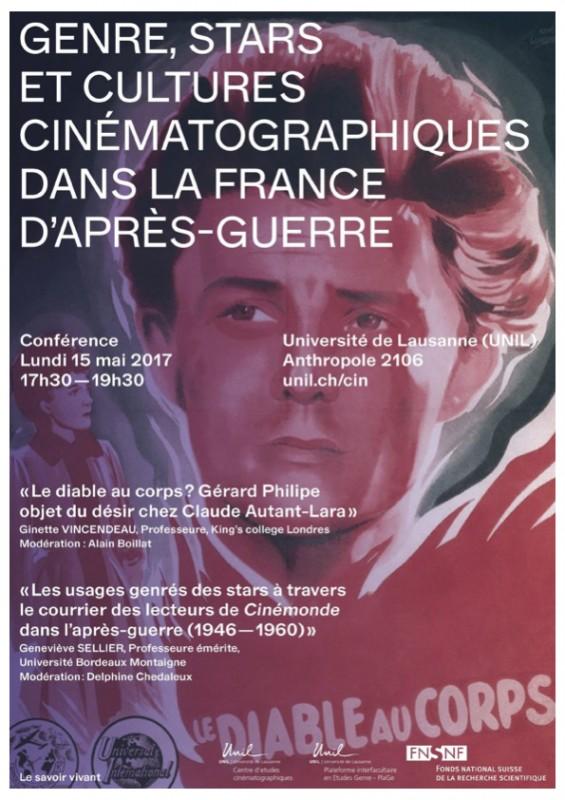 Conférence « Genre, stars et cultures cinématographiques dans la France d'après-guerre », 15 mai 2017