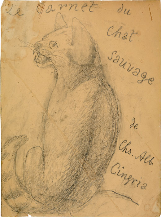 Projet d'illustration de René Auberjonois pour « Le Carnet du chat sauvage » de Charles-Albert Cingria, 1945