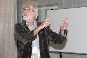 Anniversaire des 50 ans du CME ( Centre de Microscopie Electonique ). Auditoire Georges Spengler, Rue du Bugnon 25. Sur l'image: Professeur Jacques DUBOCHET. © Willy Blanchard, EMF, Université de Lausanne