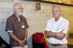 EMF Opening Symposium. Professeur Jacques DUBOCHET et Professeur Patrick FRANCIOLI. © Willy Blanchard, EMF, Université de Lausanne