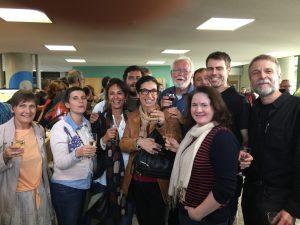From left to right:Francine Voinesco, Caroline Kizilyaprak, Véronique Simond, Antonio Mucciolo, Catherine El-Bez, Jacques Dubochet, Irina Kolotuev, Benoît Zuber and Bruno Humbel