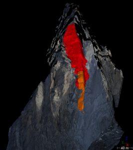 Comparaison de deux nuages de points LiDAR sur la paroi ouest du Petit Dru dans le Massif du Mont Blanc. Le compartiment orange est tombé en septembre 2011, la partie rouge s'est éboulée quelques semaines plus tard, en octobre 2011.