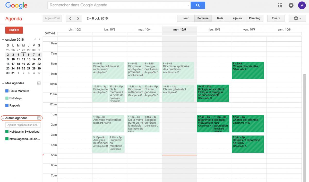 Résultat Google Agenda