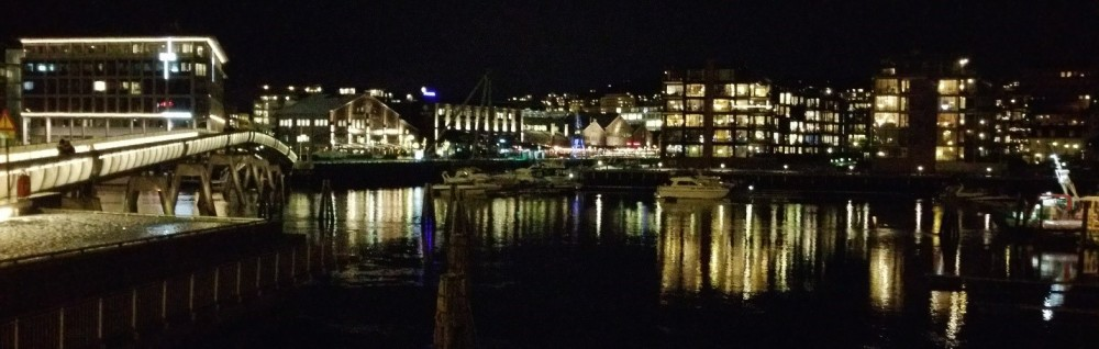Trondheim harbor by night
