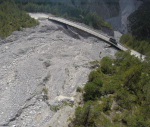 Military bridge and debris flow in S-Charl valley