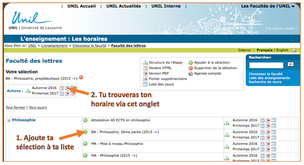 Consulter son horaire de cours sherpa - Creer son calendrier ...